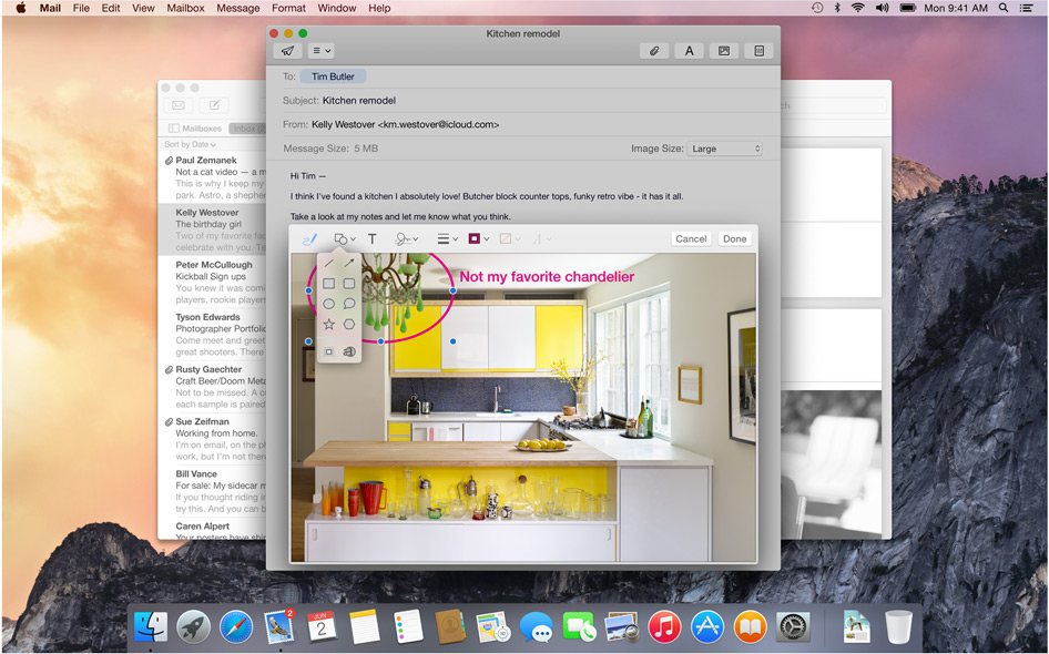 Mail Yosemite Apple