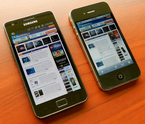 Android - iPhone 4 frente a Galaxy S2