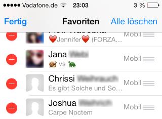 WhatsApp iOS 7 Favorites