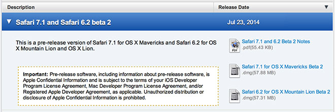 Betas safari mavericks