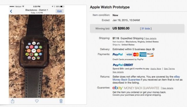 Prototipo falso del Apple Watch