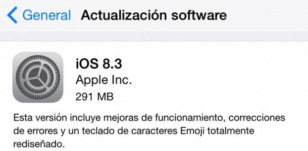 iOS 8.3 actualización