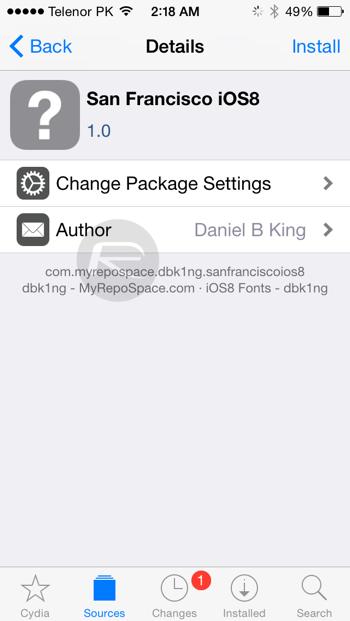 iOS 9 san francisco font iOS 8