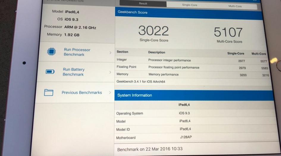 El iPhone SE y el iPad Pro de 9,7 tienen 2 GB de memoria RAM